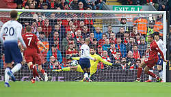 LIVERPOOL, ENGLAND - Sunday, March 31, 2019: Tottenham Hotspur's Lucas Moura scores the first equalising goal during the FA Premier League match between Liverpool FC and Tottenham Hotspur FC at Anfield. (Pic by David Rawcliffe/Propaganda)