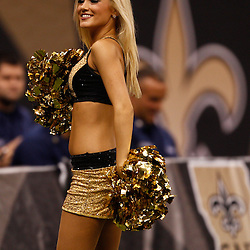 August 27, 2010; New Orleans, LA, USA; A New Orleans Saints Saintssations cheerleader performs during the first half of a preseason game at the Louisiana Superdome. The New Orleans Saints defeated the San Diego Chargers 36-21. Mandatory Credit: Derick E. Hingle