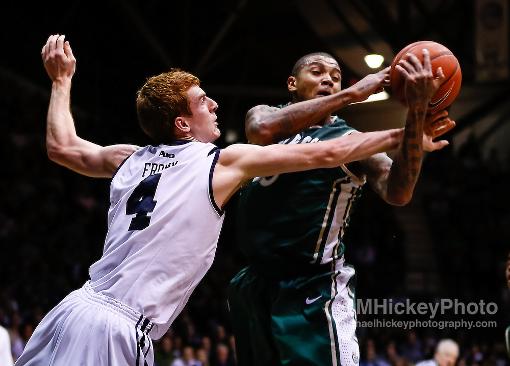 INDIANAPOLIS, IN - FEBRUARY 13: Erik Fromm #4 of the Butler Bulldogs and Chris Braswell #35 of the Charlotte 49ers battle for a rebound at Hinkle Fieldhouse on February 13, 2013 in Indianapolis, Indiana. Charlotte defeated Butler 71-67. (Photo by Michael Hickey/Getty Images) *** Local Caption *** Erik Fromm; Chris Braswell