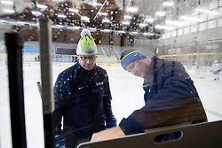 Assitant coaches Risto Dufva and Nik Zupancic at first practice of Slovenian National Ice Hockey team before IIHF Ice Hockey World Championship Division I Group A in Budapest, on April 17, 2018 in Ledena dvorana, Bled, Slovenia. Slovenia. Photo by Matic Klansek Velej / Sportida