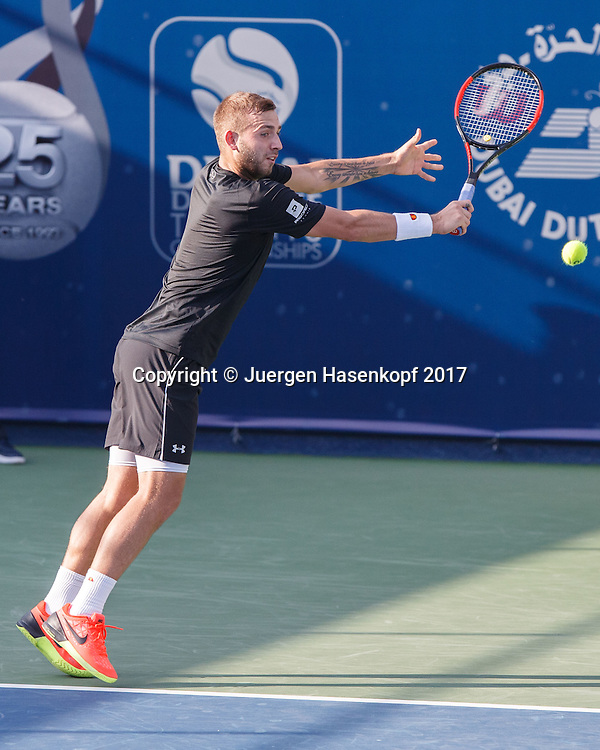 DANIEL EVANS (GBR),Tattoo,<br /> <br /> Tennis - Dubai Duty Free Tennis Championships - ATP -  Dubai Duty Free Tennis Stadium - Dubai -  - United Arab Emirates  - 28 February 2017. <br /> &copy; Juergen Hasenkopf