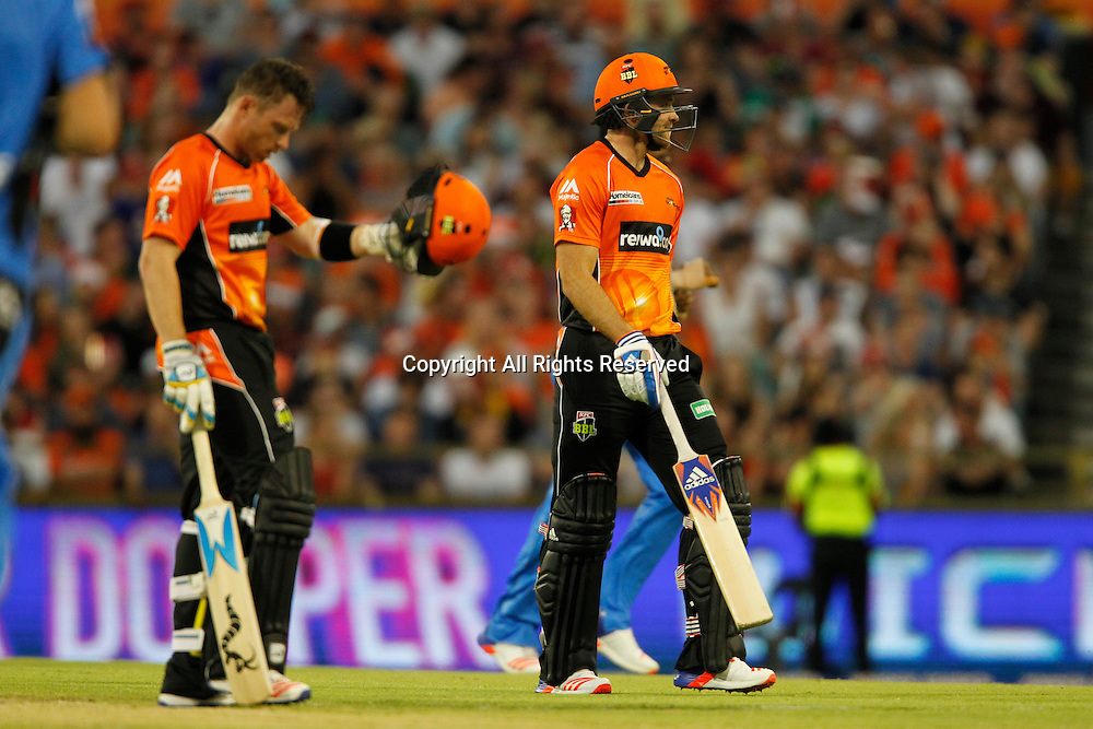 23.12.2016. WACA Ground, Perth, Australia. BBL Cricket League. Perth Scorchers versus Adelaide Strikers. David Willey walks off after getting out whilst his English team mate Ian Bell watches on.