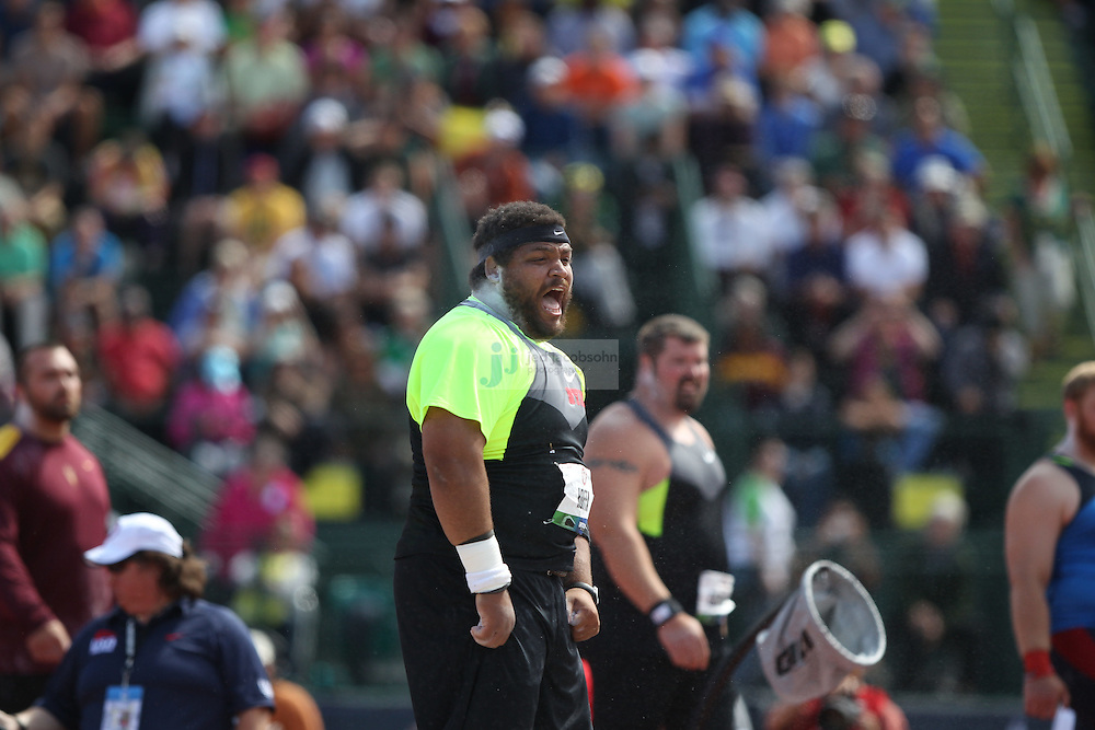 Reese Hoffa yells after a throw during the shot put finals during day 3 of the U.S. Olympic Trials for Track & Field at Hayward Field in Eugene, Oregon, USA 24 Jun 2012..(Jed Jacobsohn/for The New York Times)....