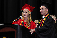Student co-chairpersons Chloe Cochran (left) and Quenton Richards speak during the Franklin High School graduation exercise at the Nutter Center in Fairborn, Saturday, May 26, 2012.