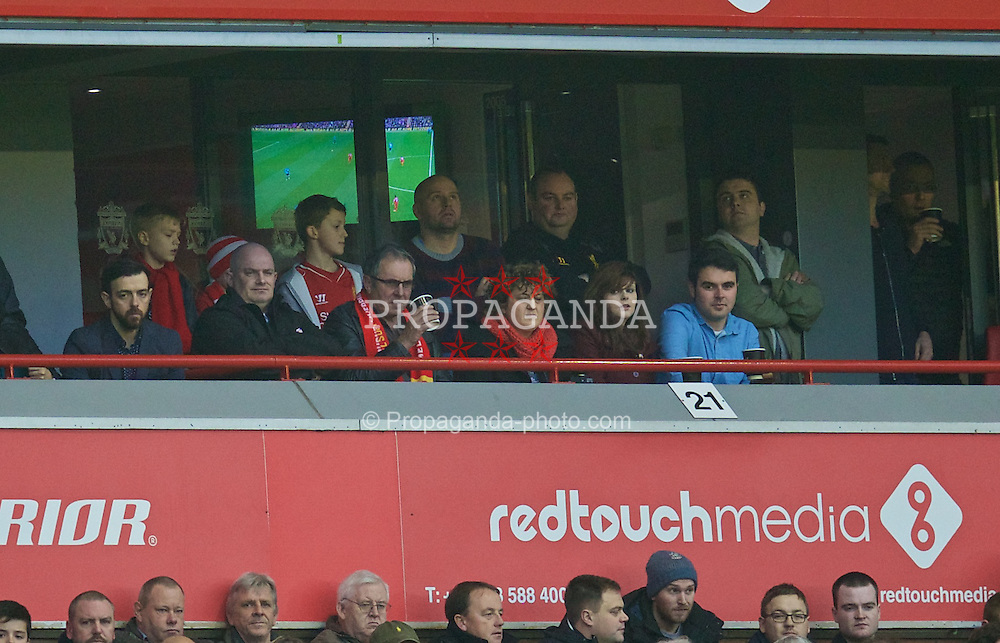 LIVERPOOL, ENGLAND - Saturday, November 29, 2014: Actor Alan Fletcher, famous for playing Dr Karl Kennedy in the Australian soap opera Neighbours during the Premier League between Liverpool and Stoke City at Anfield. (Pic by David Rawcliffe/Propaganda)