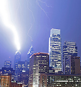 Lightning over Center City Philadelphia, Lightning hits Liberty two (big bolt) and Liberty one (smaller bolt).