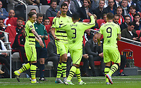 17/09/15 UEFA EUROPA LEAGUE GROUP STAGE<br /> AJAX v CELTIC<br /> AMSTERDAM ARENA - HOLLAND<br /> Celtic's Nir Bitton (2nd from left) celebrates his goal with his team-mates