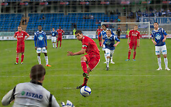 MOLDE, NORWAY - Wednesday, September 7, 2011: Liverpool's captain Conor Coady scores the third goal against Molde's from the penalty spot during the second NextGen Series Group 2 match at Aker Stadion. (Photo by Vegard Grott/Propaganda)