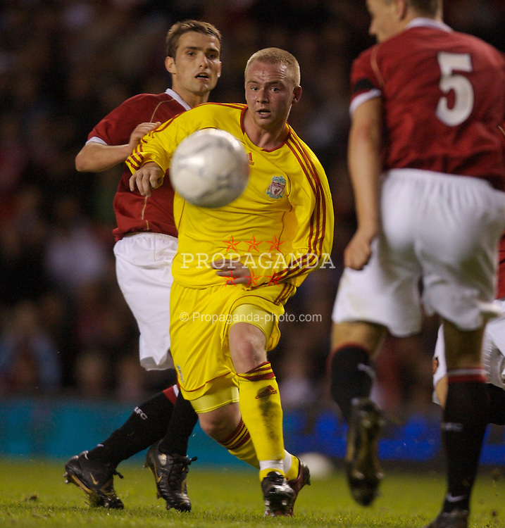 Manchester, England - Thursday, April 26, 2007: Liverpool's Ray Putterill and Manchester United's James Chester during the FA Youth Cup Final 2nd Leg at Old Trafford. (Pic by David Rawcliffe/Propaganda)
