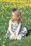 a 3 year old girl is sitting on a flower meadow