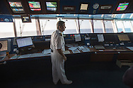 Commodore Giuseppe Romano on the bridge. From aboard the M/V Ruby Princess sailing from Ft. Lauderdale to Princess Cays, Bahamas.