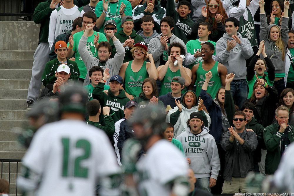 April 28, 2012; Baltimore, MD, USA; Loyola Greyhounds fans react against the Johns Hopkins Blue Jays at  Ridley Athletic Complex in Baltimore, MD. Mandatory Credit: Brian Schneider-www.ebrianschneider.com