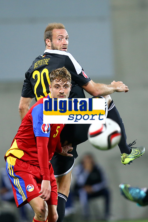 Laurent Depoitre of Belgium duels for the ball with Marc Rebes of Andorra during the UEFA European Championship 2016 qualifying Group B football match between Andorra and Belgium on October 10, 2015 at The Estadi Nacional in Andorra la Vella, Andorra. <br /> Photo Manuel Blondeau/AOP Press/DPPI
