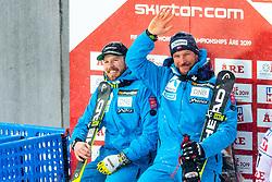 February 9, 2019 - Re, SWEDEN - 190209 Kjetil Jansrud and Aksel Lund Svindal of Norway celebrates after competing in men's downhill during the FIS Alpine World Ski Championships on February 9, 2019 in re..Photo: Joel Marklund / BILDBYRN / kod JM / 87853 (Credit Image: © Joel Marklund/Bildbyran via ZUMA Press)