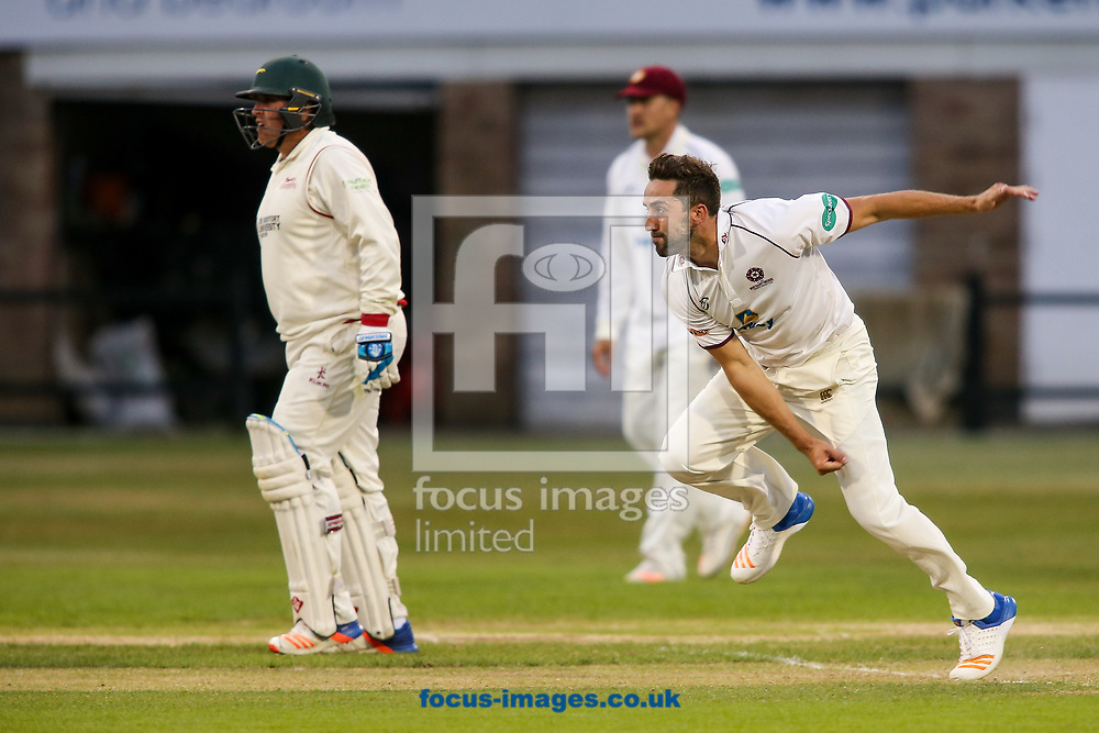 Ben Sanderson of Northamptonshire CCC in delivery stride during the Specsavers County C'ship Div Two match at the County Ground, Northampton<br /> Picture by Andy Kearns/Focus Images Ltd 0781 864 4264<br /> 26/06/2017