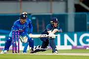 England ODI Captain & Batsman Eoin Morgan with a reverse sweep during the 3rd Royal London ODI match between England and India at Headingley Stadium, Headingley, United Kingdom on 17 July 2018. Picture by Simon Davies.
