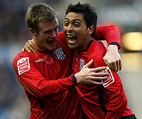 Photo: Steve Bond/Richard Lane Photography. Leicester City v West Bromwich Albion. Coca Cola Championship. 07/11/2009. Gonzalo Jara (R) celebrates his goal with Chris Brunt