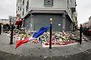16  November  2015 – Paris, France Mourners lay flowers and light candles in front of Le Petit Cambodge restaurant in central Paris where people were gunned down.  In a series of acts of violence, some 129 people were killing in shootings and suicide bombing. ISIL or islamic state claimed the responsibility.