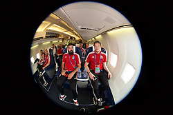 DINARD, FRANCE - Wednesday, June 15, 2016: Wales' Joe Ledley, Gareth Bale, Jonathan Williams and goalkeeper Wayne Hennessey depart from Aeroport De Dinard Pleurtuit Saint-Malo as they head to Lens for their Group Stage MD 2 game of the UEFA Euro 2016 Championship against England. (Pic by David Rawcliffe/Propaganda)