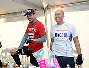 Entrepreneur and TV personality Bill Rancic runs the ING New York City Marathon, Sunday, November 3, 2013.  Rancic, who was the very last person to start the race, finished with an unofficial time of 4:57.  Timex will be donating $30,000 to Fab-U-Wish, a charity founded by his wife Giuliana Rancic that supports women affected by breast and ovarian cancer.(Photo by Diane Bondareff/Invision for Timex)