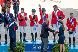Team USA, Gold Medal, Devin Ryan, Adrienne Sternlicht, Laura Kraut, McLain Ward, Robert Ridland<br /> World Equestrian Games - Tryon 2018<br /> © Hippo Foto - Dirk Caremans<br /> 21/09/2018
