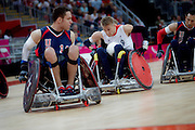 Steve Brown of Great Britain in the Wheelchair Rugby Mixed.Pool Phase of Group A,.USA 56 - 44 GBR at the Basketball arena on day 7 of the London 2012 Paralympic Games. 6th September 2012.