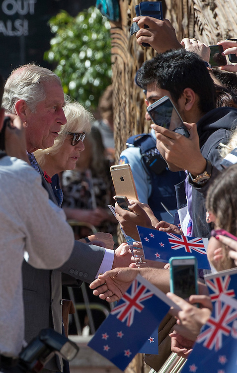 The Prince of Wales and The Duchess of Cornwall on a walkabout to meet the public in Aotea Square, Auckland, New Zealand, on  Sunday, November 08, 2015. They were making their way to an event in theTown Hall. Credit: SNPA / David Rowland