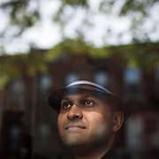 May 12, 2017 - New York, NY : Syed Ali poses for a portrait in the vestibule of his apartment building in Bay Ridge, Brooklyn on Friday afternoon, May 12. Syed, who is a combat veteran with the United States Army and an officer with the New York Police Department, was detained at John F. Kenney Airport earlier this year when he returned from vacation overseas after his most recent deployment -- this despite having his Military ID and US Passport.  CREDIT: Karsten Moran for The New York Times