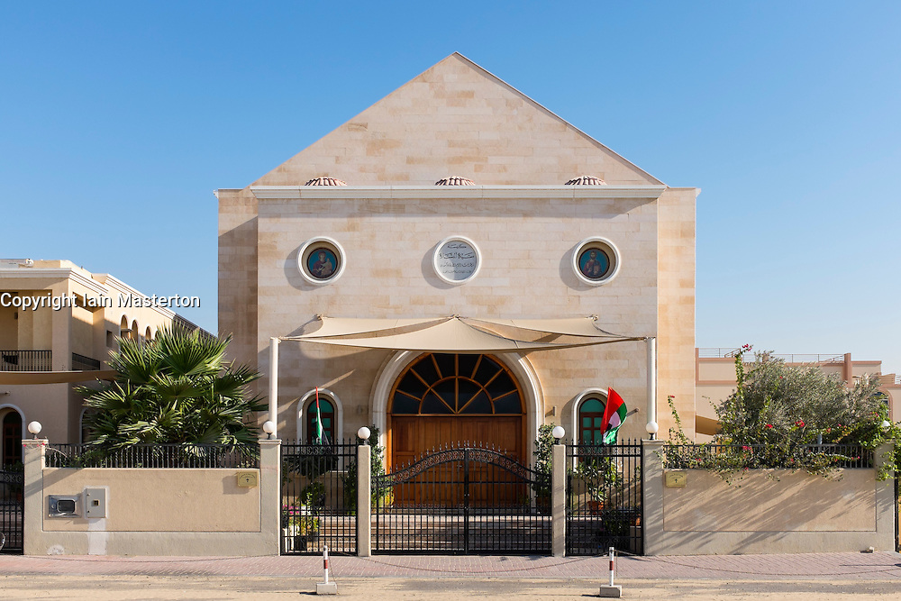 Exterior of St Mary Greek Orthodox Church at Jebel Ali in Dubai United Arab emirates