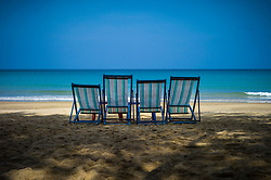 Sun loungers invitingly arranged on Dam Trau beach, Con Dao, Ba Ria - Vung Tau Province, Vietnam, Southeast Asia