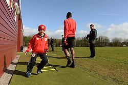 Connor warms up with the team - Photo mandatory by-line: Dougie Allward/JMP - Mobile: 07966 386802 - 01/04/2015 - SPORT - Football - Bristol - Bristol City Training Ground - HR Owen and SAM FM