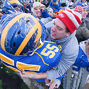 Delaware OL #55 Will Nagles celebrates with the fans after No. 3 Delaware defeats Georgia Southern 27-10 on a cold Saturday afternoon at Delaware stadium in Newark Delaware...Delaware will head to Texas for the Division I FCS National Championship Game Vs Eastern Washington eagles who defeated Villanova 41-31 friday night in Washington..
