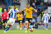 Wolverhampton Wanderers forward Diogo Jota (18) battles with Brighton and Hove Albion midfielder Beram Kayal (7) during the Premier League match between Brighton and Hove Albion and Wolverhampton Wanderers at the American Express Community Stadium, Brighton and Hove, England on 27 October 2018.
