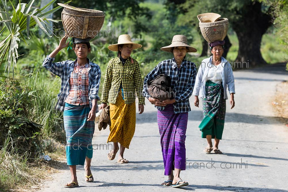 CHAUNG-U, MYANMAR - DECEMBER 01, 2016 :  burmesse farmers women walking on the road near Monywa