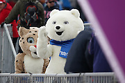 """Sochi Olympic mascot,  <br /> FEBRUARY 11, 2014 - Cross Country Skiing : <br /> Women's Sprint Free Qualification <br /> at """"LAURA"""" Cross-Country Ski & Biathlon Center <br /> during the Sochi 2014 Olympic Winter Games in Sochi, Russia. <br /> (Photo by Koji Aoki/AFLO SPORT) [0008]"""
