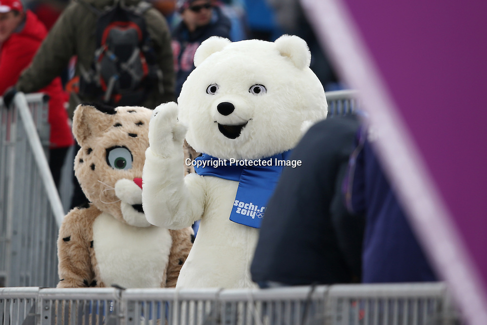 "Sochi Olympic mascot,  <br /> FEBRUARY 11, 2014 - Cross Country Skiing : <br /> Women's Sprint Free Qualification <br /> at ""LAURA"" Cross-Country Ski & Biathlon Center <br /> during the Sochi 2014 Olympic Winter Games in Sochi, Russia. <br /> (Photo by Koji Aoki/AFLO SPORT) [0008]"