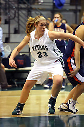 10 January 2009: Kylie Castans blocks out during a free throw. The Lady Titans of Illinois Wesleyan University downed the and Lady Thunder of Wheaton College by a score of 101 - 57 in the Shirk Center on the Illinois Wesleyan Campus in Bloomington Illinois.