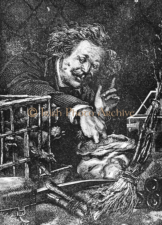 Feeding chickens in the space capsule.  From Jules Verne 'Autour de la Lune', Paris, 1865. Wood engraving.