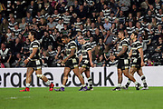 Hull FC winger Fetuli Talanoa (5) scores a try and the Hull fans celebrate during the Betfred Super League match between Hull FC and Leeds Rhinos at Kingston Communications Stadium, Hull, United Kingdom on 19 April 2018. Picture by Mick Atkins.