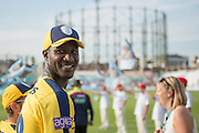 Hampshire T20 all-rounder Darren Sammy ahead of the NatWest T20 Blast South Group match between Surrey County Cricket Club and Hampshire County Cricket Club at the Kia Oval, Kennington, United Kingdom on 9 June 2016. Photo by David Vokes.