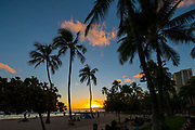 Sunset, Twilight, Waikiki Berach, Honolulu, Oahu, Hawaii