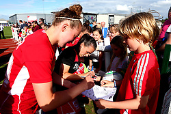 Georgia Evans of Bristol City Women and Millie Turner of Bristol City Women sign autographs for fans - Mandatory by-line: Robbie Stephenson/JMP - 03/06/2017 - FOOTBALL - Stoke Gifford Stadium - Bristol, England - Bristol City Women v Arsenal Ladies - FA Women's Super League Spring Series