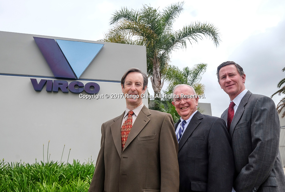 Doug Virtue, left, president, Bob Dose, right, senior VP and Robert Virtue, the founder of Virco. (Photo by Ringo Chiu)<br /> <br /> Usage Notes: This content is intended for editorial use only. For other uses, additional clearances may be required.