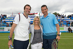 LIVERPOOL, ENGLAND - Friday, June 17, 2011: Greg Rusedski (GBR) and Richard Krajicek (NED) with a sponsor during day two of the Liverpool International Tennis Tournament at Calderstones Park. (Pic by David Rawcliffe/Propaganda)