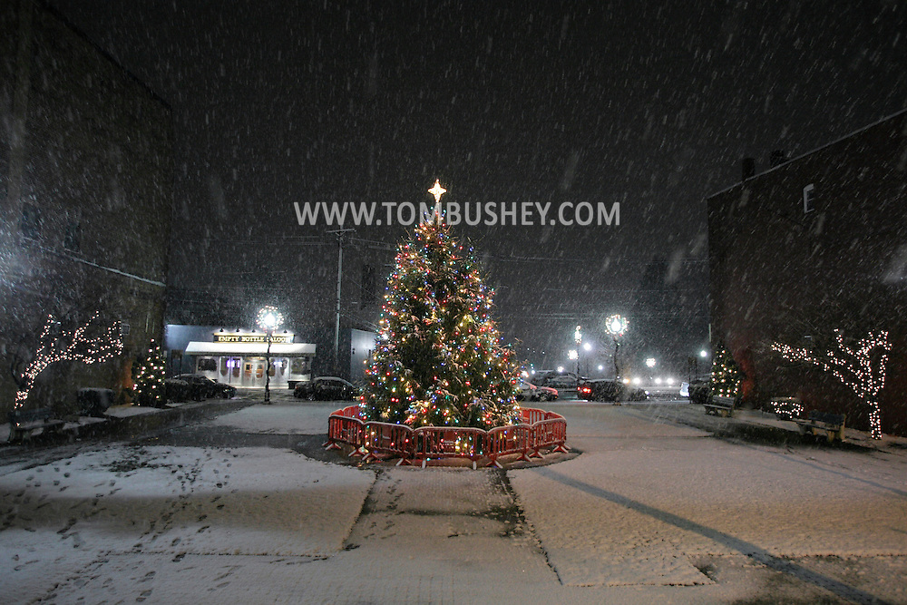 Middletown, NY - The lights on the Christmas tree shine as snow falls on the night of Dec. 5, 2009.