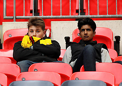 Watford fans look dejected after seeing their side lose in the FA Cup Semi-Final to Crystal Palace - Mandatory by-line: Robbie Stephenson/JMP - 24/04/2016 - FOOTBALL - Wembley Stadium - London, England - Crystal Palace v Watford - The Emirates FA Cup Semi-Final