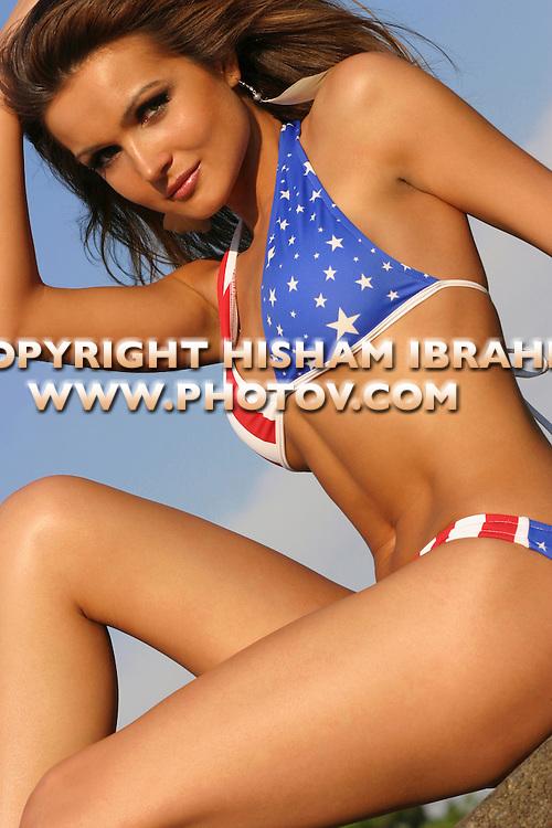 Sexy patrotic woman in an American Flag bikini, Washington DC, USA