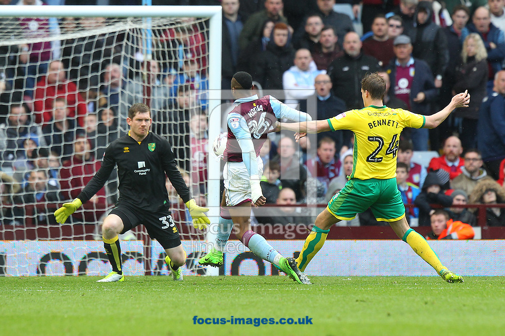 during the Sky Bet Championship match at Villa Park, Birmingham<br /> Picture by Paul Chesterton/Focus Images Ltd +44 7904 640267<br /> 01/04/2017Jonathan Kodjia of Aston Villa scores his sides 2nd goal during the Sky Bet Championship match at Villa Park, Birmingham<br /> Picture by Paul Chesterton/Focus Images Ltd +44 7904 640267<br /> 01/04/2017