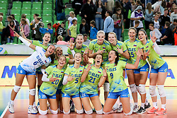 Players of Slovenia celebrate during the volleyball match between National team of Slovenia and China in Preliminary Round of Womens U23 World Championship 2017, on September 12, 2017 in SRC Stozice, Ljubljana, Slovenia. Photo by Morgan Kristan / Sportida