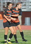 Pennsbury's Evie Ciaccia (24) and Gabby Zalot (2) celebrate after scoring a goal in the first half Wednesday, October 04, 2017 at Abington High School in Abington, Pennsylvania. (Photo by William Thomas Cain)